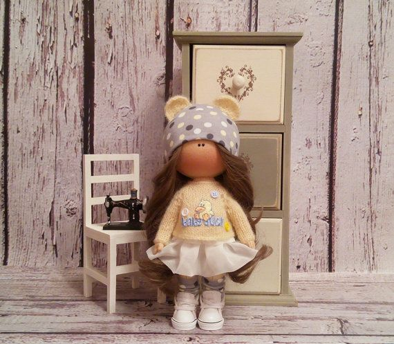 Home doll Tilda doll Art doll handmade brown yellow colors Rag doll Soft doll Fabric doll Home doll by Master Irina Bukina