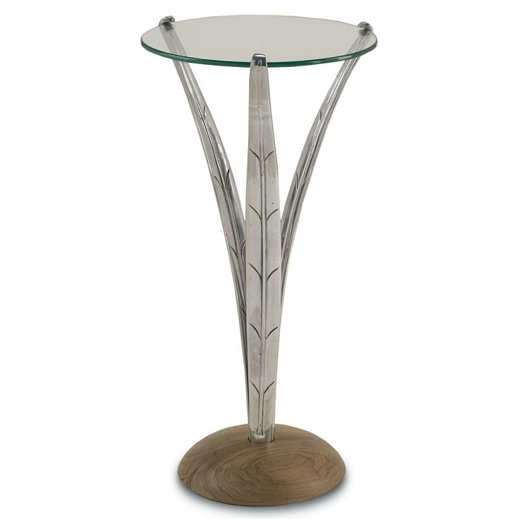 Small Drink Table Part - 47: Anna Drinks Table Material: Metal/Wood/Glass Finish: Nickel/Natural