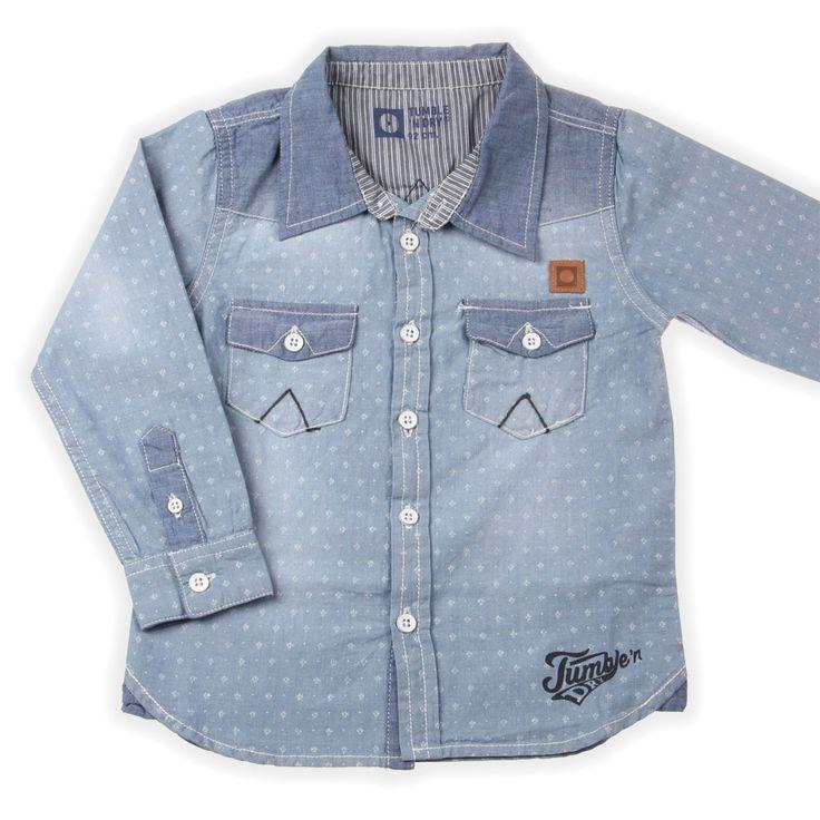 Newborn stoere denim overhemd van Tumble N Dry nieuwe Zomercollectie | www.kienk.nl babycollectie.