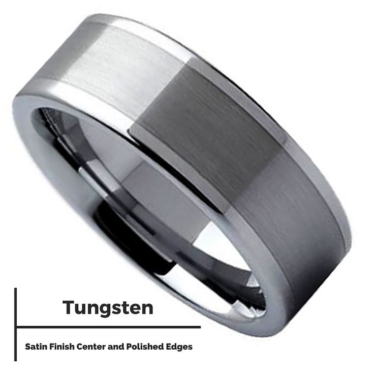 Mens silver pipe cut wedding band crafted out of tungsten carbide. Designed with a satin center and polished edges. This ring has also been designed with comfort fit. It's also extremely durable and c
