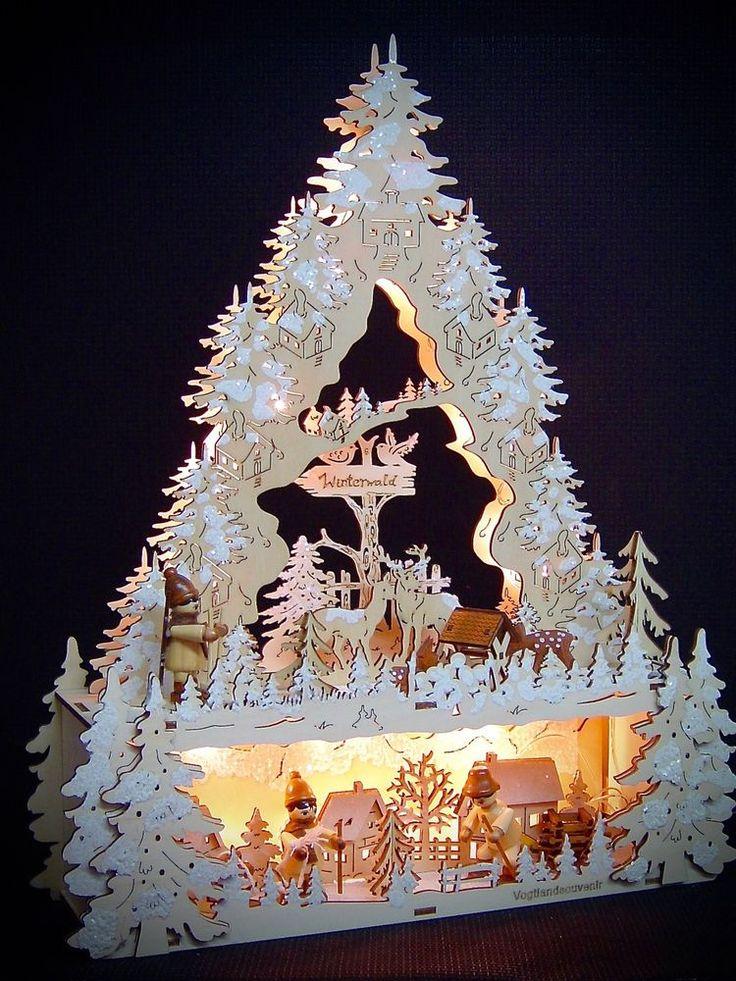 3D LED Lichterbogen Schwibbogen Spitze mit Unterbank + 3 Winterfiguren 10245