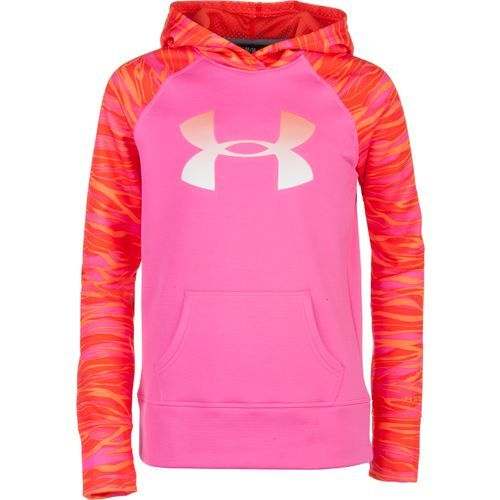 Under Armour® Girls' ColdGear® Printed Big Logo Armour® Fleece Hoodie