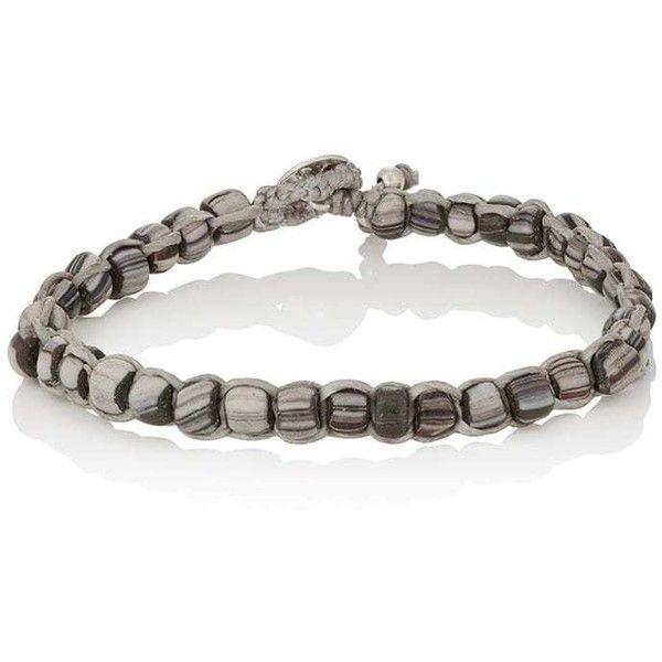 Caputo & Co Men's Beaded Waxed Cord Bracelet (£72) ❤ liked on Polyvore featuring men's fashion, men's jewelry, men's bracelets, dark grey, mens rope bracelet, mens macrame bracelet, mens braided leather bracelet, mens cord bracelet and mens cord bracelets