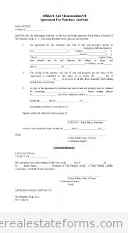 Free Affidavit of Memorandum for Purchase and Sale Printable Real Estate Forms