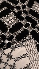 Museum Quality Vintage 1820 Overshot, Linen & Wool Antique Hand Loomed Coverlet