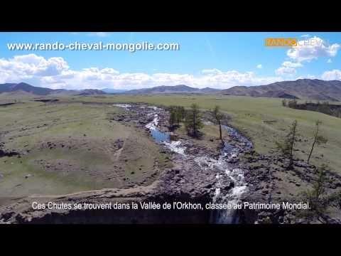 Chutes de l'Orkhon vues du ciel - Trek en Mongolie - http://www.rando-cheval-mongolie.com/trekking-mongolie.html