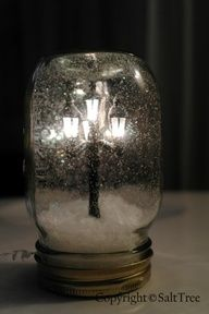 """Wow...HAVE TO MAKE THIS...$ store idea...Mini lamppost snow globe how-to. Its like Narnia in a jar!"""" data-componentType=""""MODAL_PIN"""