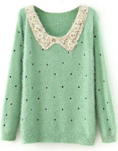 Green Polka Dot Sequins Collar Fluffy Jumper Sweater