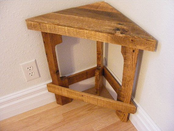 Rustic Corner Table/Reclaimed wood by WoodenKreativeKuts on Etsy