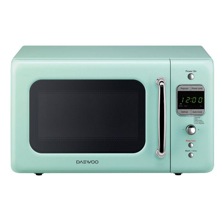 Daewoo Retro 0.7-cu ft 700-Watt Countertop Microwave (Mint Green)