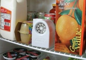 RV Fridge fan - By placing a small battery operated fan in the RV Fridge it will cool more efficiently and odors are reduced. There are several types available, some come with a small charcoal filter. http://loveyourrv.com/place-small-fan-in-rv-fridge-to-aid-cooling/