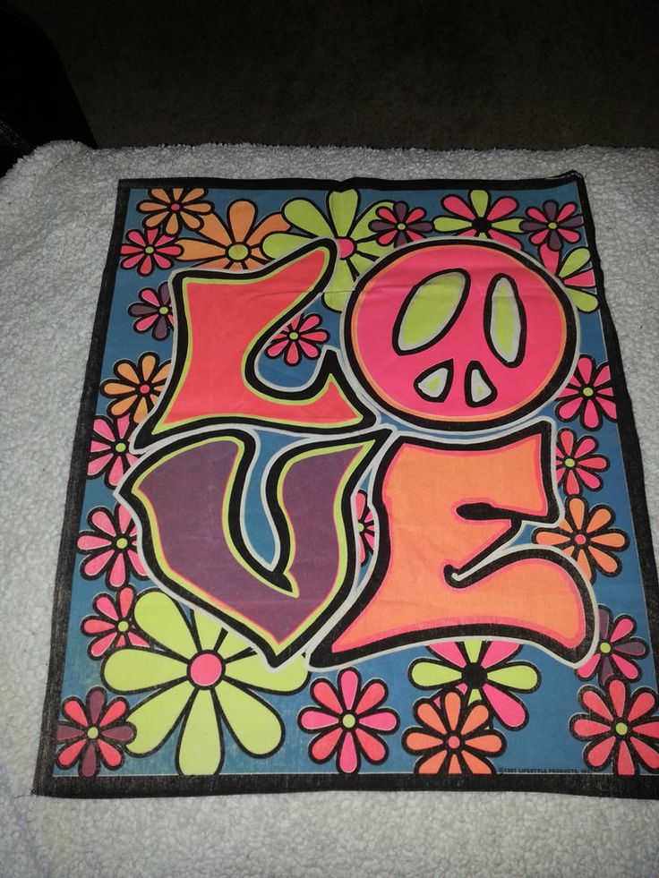Love Hippie Poster With Flowers Neon Colors Painted On Canvas Hippie Painting Hippie Posters