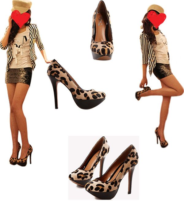 Sexy Leopard Round Toe Womens High Heel Shoes