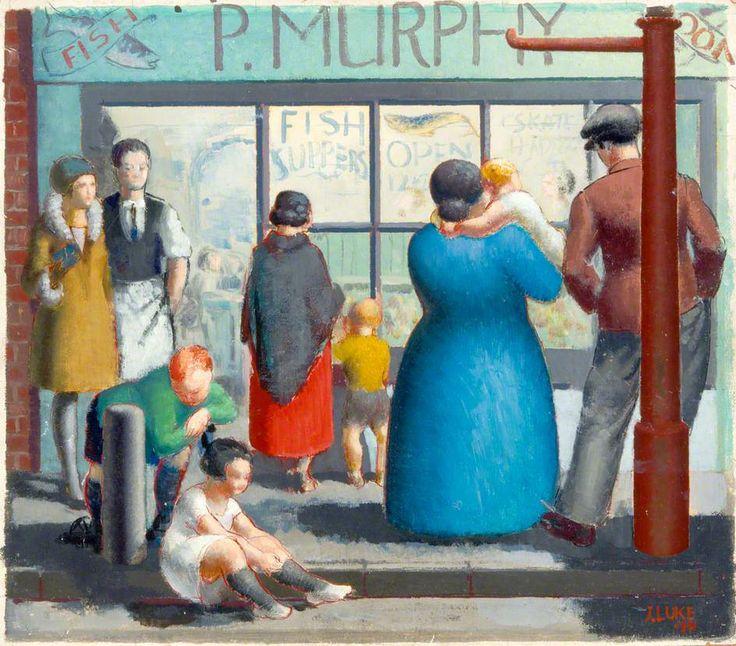 """John Luke (Irish, 1906–1975)  ~ """"Fish and Chip Shop"""" (verso) 1931"""