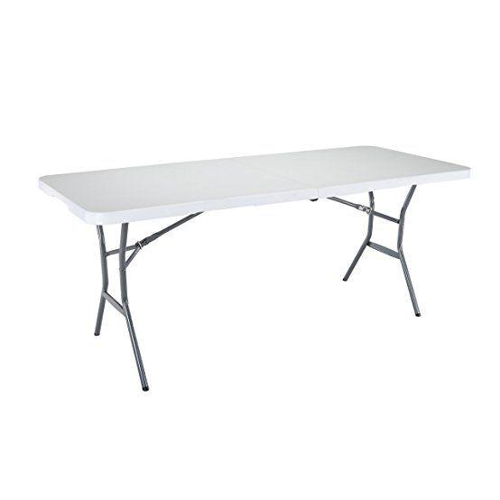 Lifetime 25011 Fold In Half Light Commercial Table 6 Feet White