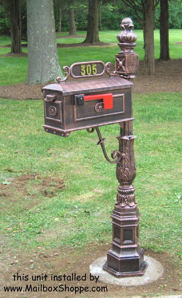 Traditional Mailbox #1. Cast aluminum pedestal mailboxes.