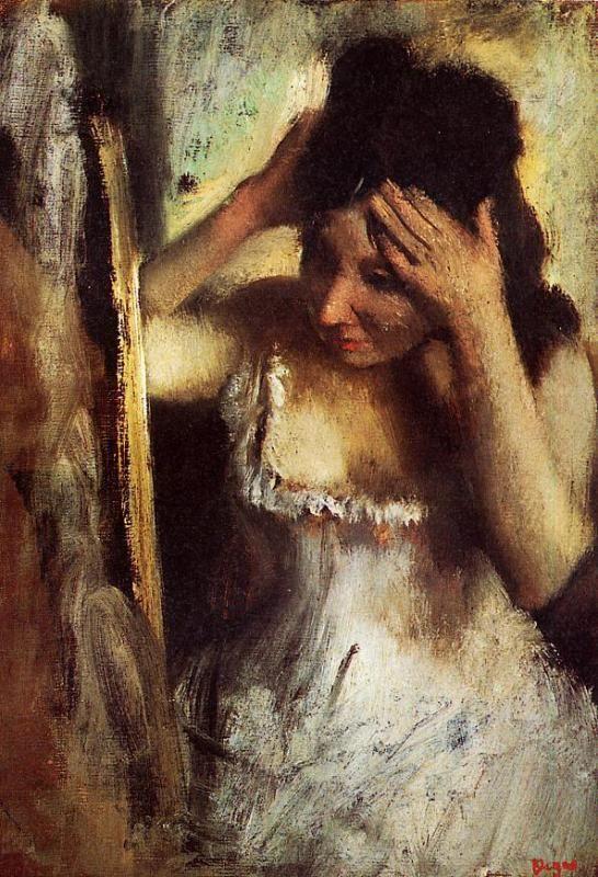 The Athenaeum - Woman Combing Her Hair before a Mirror (Edgar Degas - circa 1877)