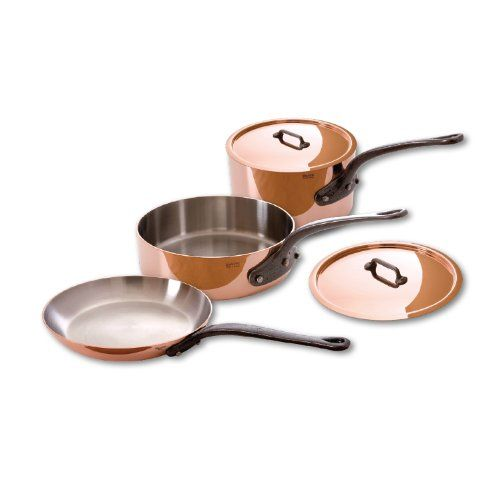 Great Mauviel M'Heritage Copper M250C 6501.00 5-Piece Copper Cookware Set, Cast Iron Handle