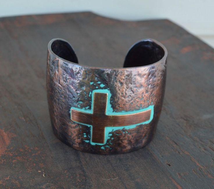 Cowgirl Hammered Copper tone metal Bracelet  CUFF Gypsy CROSS western  #Unbranded #Cuff