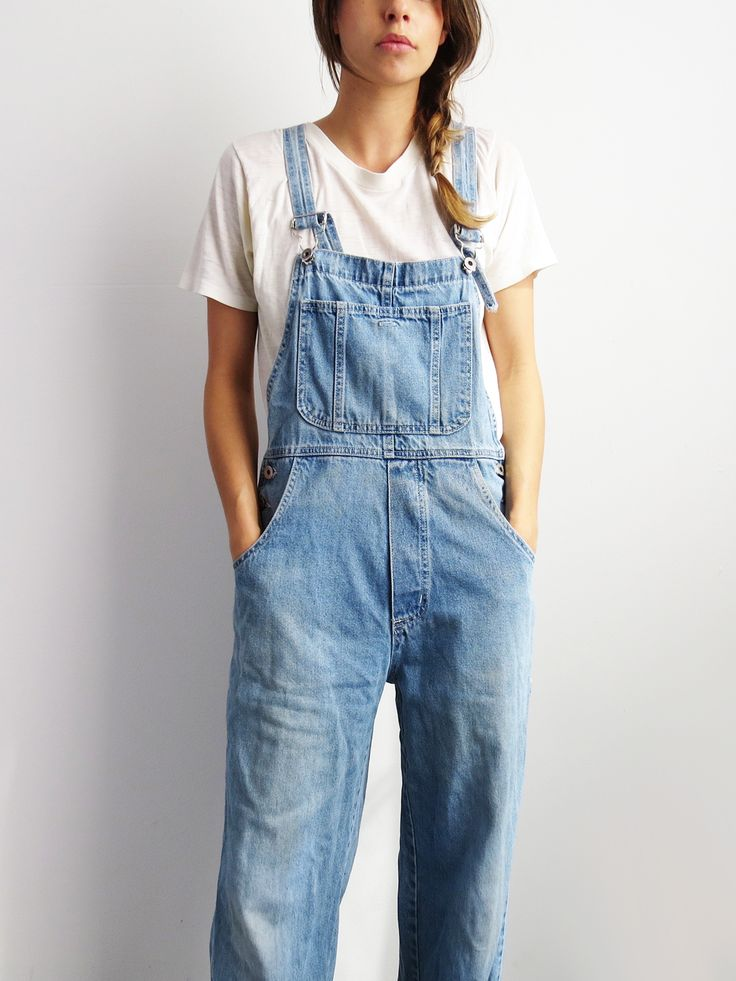 Distressed Denim Overalls // Vintage 1990's Overalls