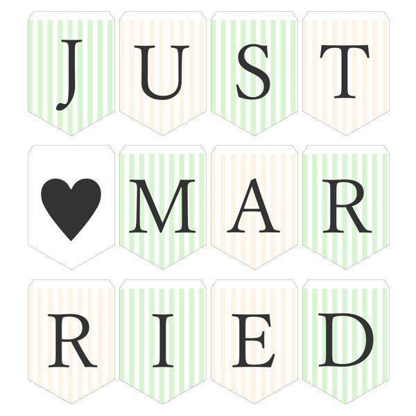ガーランド無料テンプレート:Stripe_green×yellow_Just married|結婚式ムービーchouchou(シュシュ)