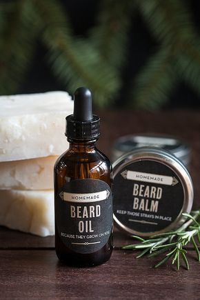 Gift idea for guys! Homemade beard grooming kits that include beard balm, beard oil and whisker wash from www.evermine.com