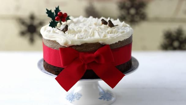 Christmas cake with pecan marzipan and brandy butter icing