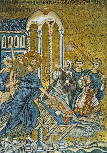 12th century Byzantine mosaic of Jesus Banishes the Merchants Out of the Temple in the Cathedral of Monreale, Palermo, Sicily.