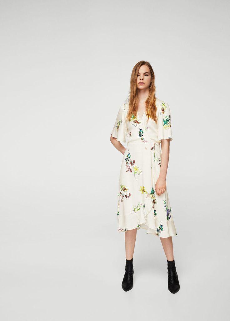 Vestido floral volantes - Vestidos de Mujer | MANGO España