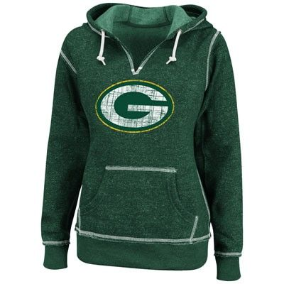 Green Bay Packers Green Women's Marled Hooded Sweatshirt