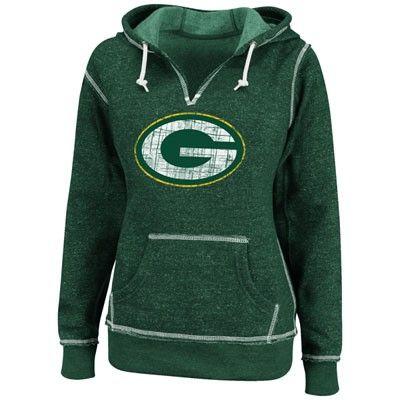 Green Bay Packers Green Women's Marled Hooded Sweatshirt