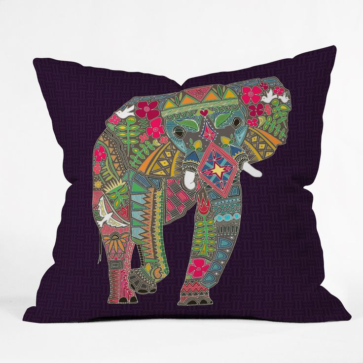 Sharon Turner Painted Elephant Throw Pillow | DENY Designs Home Accessories