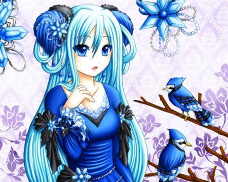 Elegant Anime Girl Dressed In Blue Hot Blue Hair