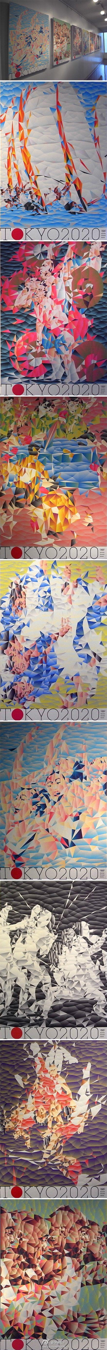 #东京申奥成功#东京2020奥运会海报设计,共八张,by 尾崎友則。像马赛克,怀旧的设计风格