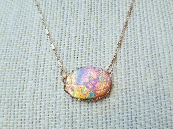 Vintage Elegant Gold Filled or Sterling Silver Glass Opal Necklace, Chunky Colorful Birthstone Gemstone Jewelry Gift