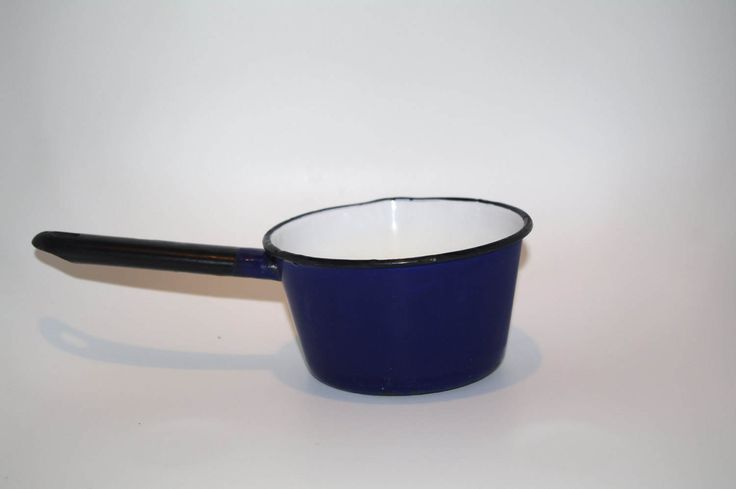 Vintage blue and black metal egg poacher pan small pot with handle metal small pot retro kitchenware pot pan shabby cottage chic Made Poland by VintagePolkaShop on Etsy