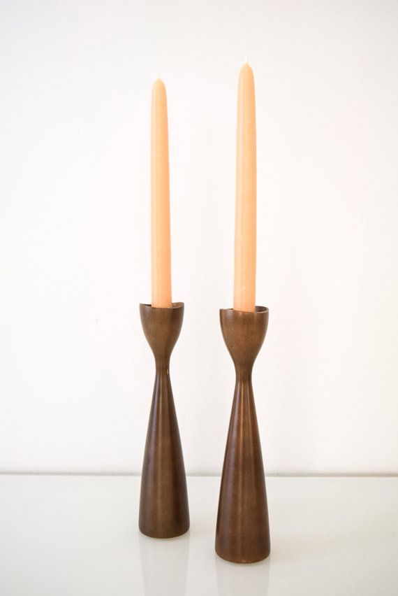 Pair Of Candleholders Mid Century Modern Vintage Danish Candle Holders Elegant Shape And Profile With Clean Lines Gentle Sculpted