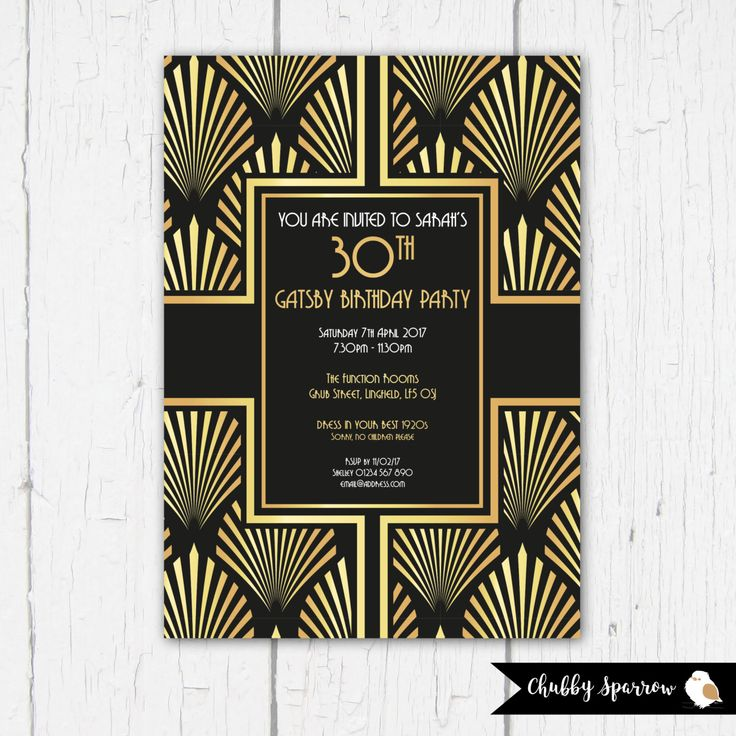 A personal favourite from my Etsy shop https://www.etsy.com/uk/listing/484482399/birthday-invitation-great-gatsby-party