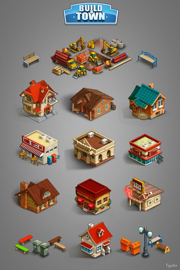 Graphics for game «Boild a town» by Николай Тюлин, via Behance ★ Find more at http://www.pinterest.com/competing/