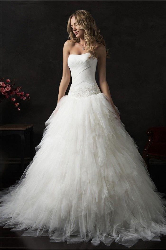Ball Gown Strapless Drop Waist Corset Tulle Ruffle Layered Wedding Dress