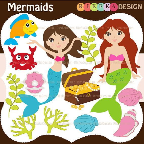 Mermaids Clipart  Set by riefka on Etsy, $5.50