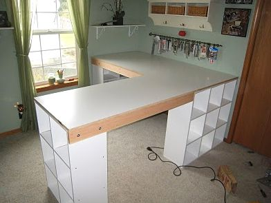 DIY l shape desk with ikea like cubbies