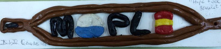 "ISABEL CERVANTES GOMEZ, Name: ""Hopeful Bracelet"". I have inspired in the short film ""Said's Travel"". My project is a plasticine model with different colours. My bracelet is rectangular and the central part has letters and symbols that refer to the film. For example, M means migration or PL means Promise Land while symbols refer to the boats and Spain. I would do my jewel with bronze and colour methacrylate. It´s a functional jewel thought for young people."