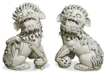 Porcelain White Foo Dogs asian-decorative-objects-and-figurines