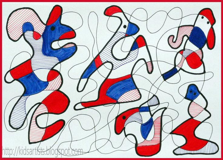 from Kids Artists blog: drawing In the style of Jean Dubuffet