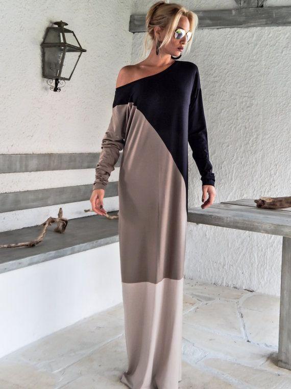 Black  Brown  Beige Maxi Dress Abaya / Dark Taupe Beige
