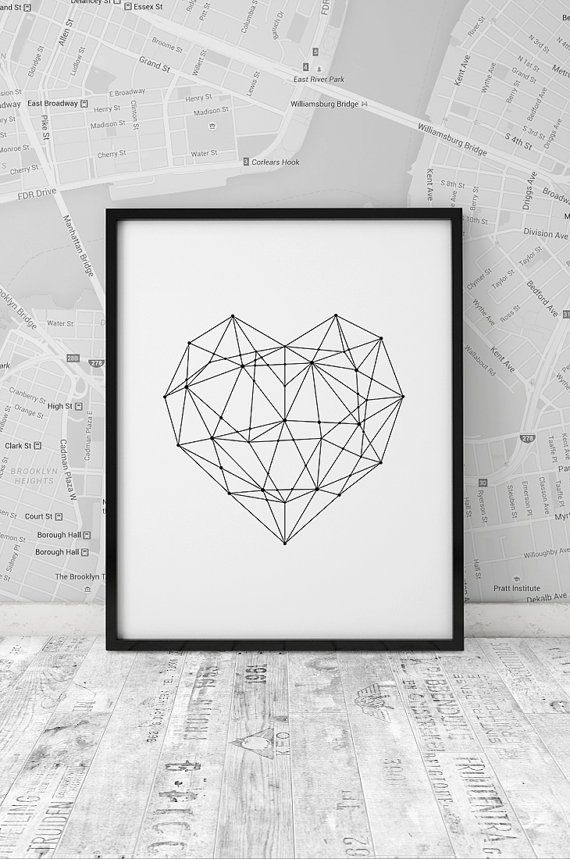 Printable Art Inspirational Prints Love Heart Geometric Home Decor Poster Polygon Art Wall Decor Black & White Summer Trends INSTANT ART