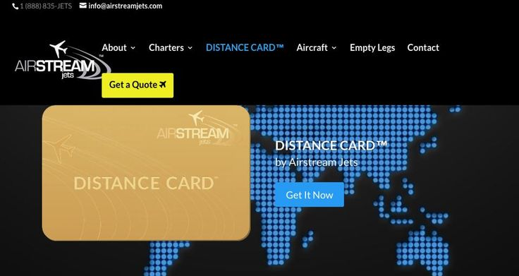 Airstream Jets Distance Cards prices your trip by mileage instead of hours.