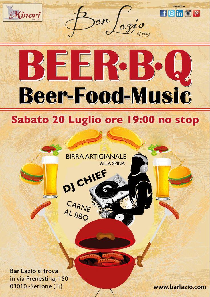 Beer BQ al Bar Lazio. Aperitivo no stop con Birra artigianale alla spina, carne e sfizi al Barbecue e Live music con Dj set