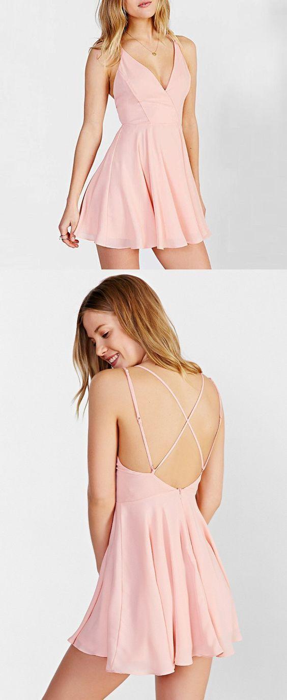 b541693f82 Lovely Pink V Neck Homecoming Dress